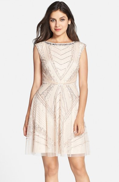 Aidan Mattox embellished mesh fit & flare dress in champagne - Glamorous crystals trace the neckline atop a luxe party...
