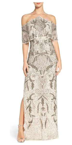 Aidan Mattox embellished mesh gown in champagne - As unique and memorable as you.