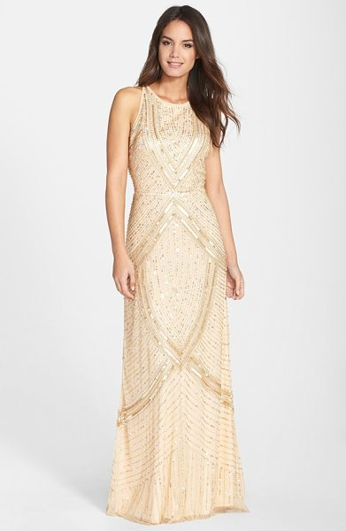 Aidan Mattox embellished mesh gown in light gold - Glistening sequins carve radiating metallic lines across...