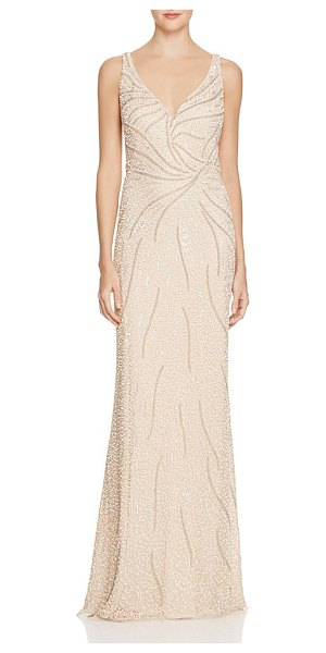 Aidan Mattox Embellished Mesh Illusion Gown in champagne