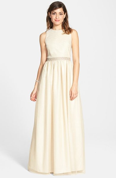 Aidan Mattox embellished princess ballgown in light gold - Airy, shimmering fabric perfectly suits the dreamy...