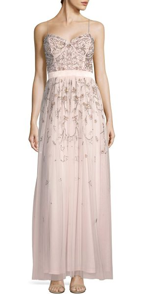 Aidan Mattox embellished sleeveless gown in pink blush