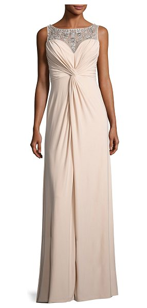Aidan Mattox Embellished Twist-Front Column Gown in nude - ONLYATNM Only Here. Only Ours. Exclusively for You....