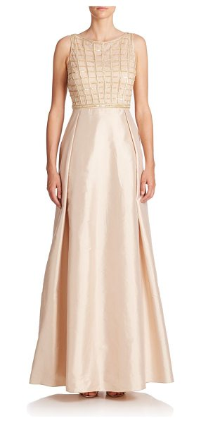 Aidan Mattox Embellished waffle-bodice gown in lightgold - A radiant, embellished bodice with light-catching beads...