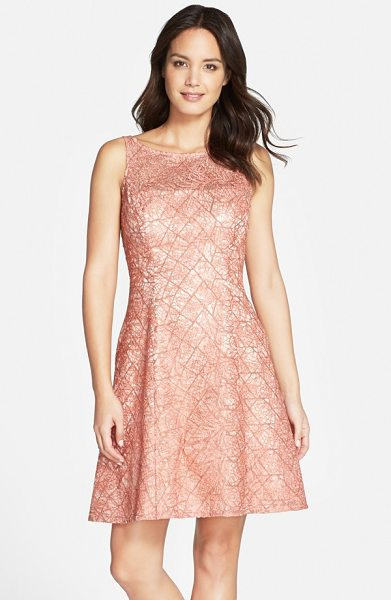 Aidan Mattox embroidered lace fit & flare dress in peach - Expert seaming sculpts the flattering fit-and-flare...