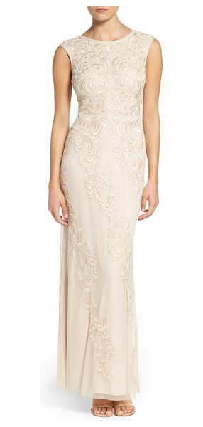 AIDAN MATTOX embroidered mesh gown - Swirling embroidery traced in iridescent beadwork puts a...