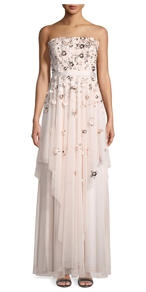 "Aidan Mattox Floral-Detail Strapless Gown in blush - Aidan Mattox strapless gown. Approx. 50.5"" down center..."