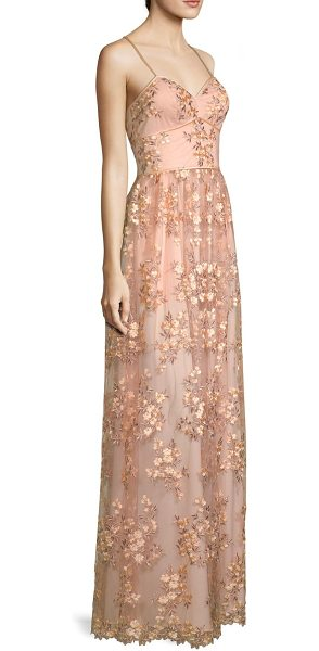 Aidan Mattox floral embroidered gown in parfait - Semi-sheer gown with delicate floral embroidery.V-neck....