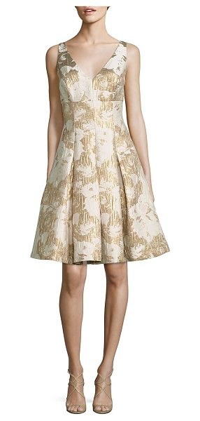 Aidan Mattox floral jacquard cocktail dress in ivorygold - EXCLUSIVELY AT SAKS FIFTH AVENUE IN TWILIGHT. Exquisite...