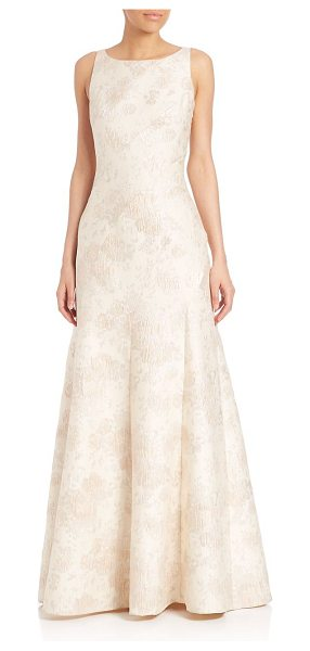Aidan Mattox floral jacquard gown in champagne - Sophisticated floral detailed gown with flared hem. Boat...