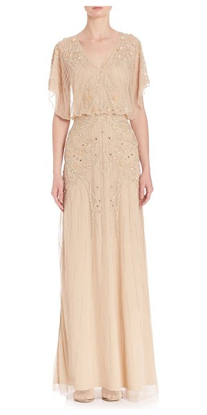 Aidan Mattox flutter sleeve beaded v-neck blouson gown in lightgold - Beaded detail on mesh overlay gives a charming...