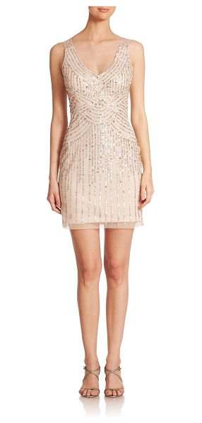 Aidan Mattox Illusion-back sequin bridesmaid dress in champagne - Adorned with shimmering sequins, a sheer back adds...