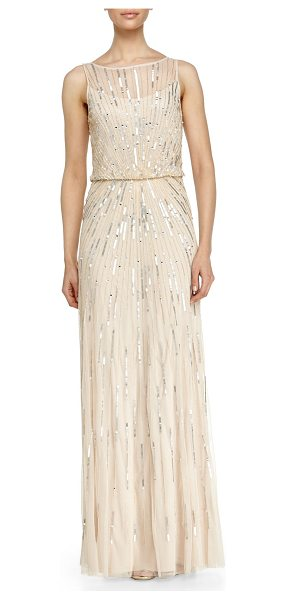 AIDAN MATTOX Illusion-neck beaded gown in champagne - Aidan Mattox tulle evening gown bedecked with sequins in...