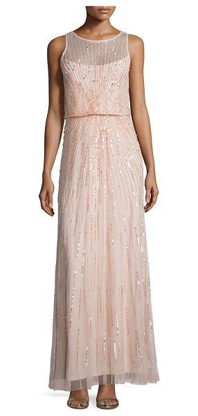 Aidan Mattox Illusion-Neck Beaded Gown in petal - Aidan Mattox tulle evening gown bedecked with sequins in...