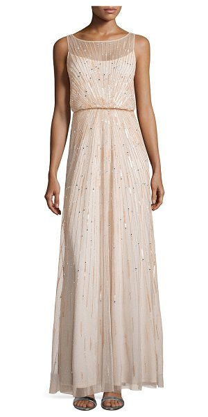 Aidan Mattox Illusion-neck beaded gown in blush - Aidan Mattox tulle evening gown bedecked sequins in...