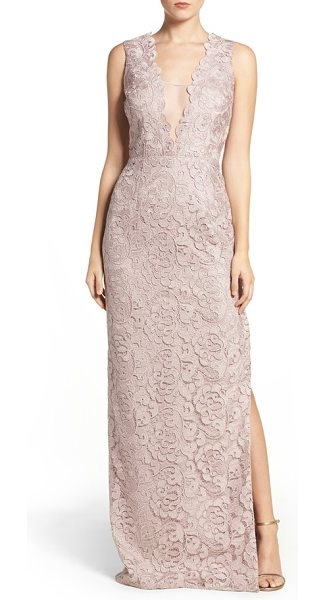 Aidan Mattox illusion neck lace gown in rose gold - This shimmering column gown is veiled in lace and made...