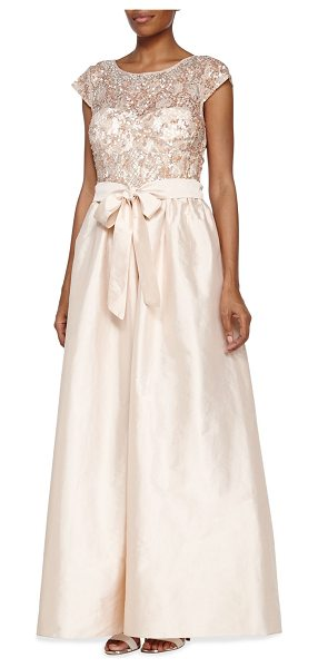 Aidan Mattox Illusion neckline ball gown with beaded bodice in blush - Aidan Mattox ball gown features beaded bodice and full...