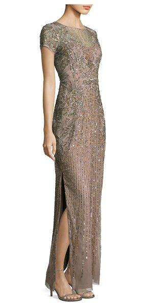 Aidan Mattox beaded sequin gown in taupe - Sparkling elegance in a floor-skimming silhouette...