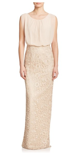 Aidan Mattox lace & chiffon bridesmaid gown in champagne - An airy blouson bodice adds volume to this streamlined...