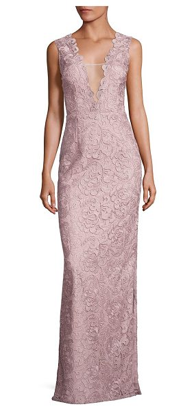 Aidan Mattox lace column gown in rose gold - Scalloped trim details uplift this lace column gown....