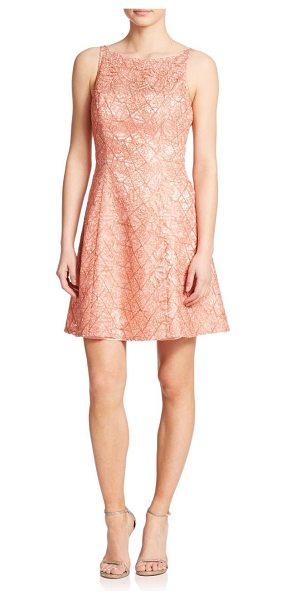 Aidan Mattox Lace fit & flare dress in peach - A beautiful, intricate lace design instantly elevates...