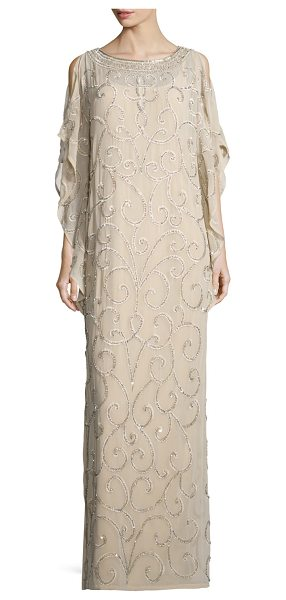 AIDAN MATTOX Long-Sleeve Embellished-Scroll Caftan - Aidan Mattox embellished-scroll georgette caftan....