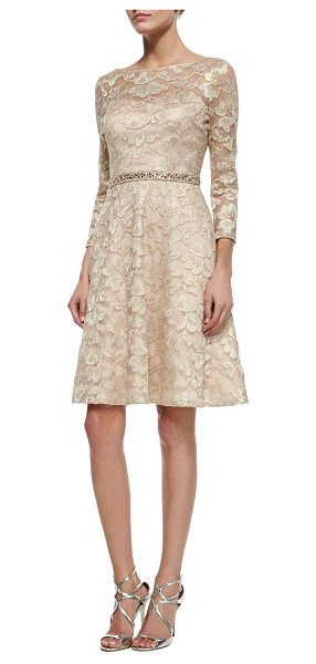 AIDAN MATTOX Long-sleeve lace beaded-waist fit & flare dress - Aidan Mattox foiled lace dress with sheer yoke and...