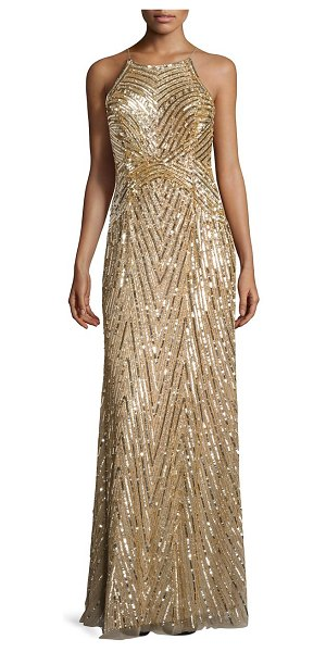 Aidan Mattox metallic beaded gown in mink - Glamorous gown will allover bead embellishments. Halter...