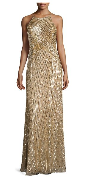 Aidan Mattox metallic beaded gown in nude - Glamorous gown will allover bead embellishments. Halter...