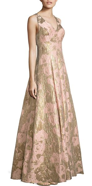 AIDAN MATTOX metallic jacquard ball gown - Elegant ball gown in gilded jacquard finish.V-neck and...