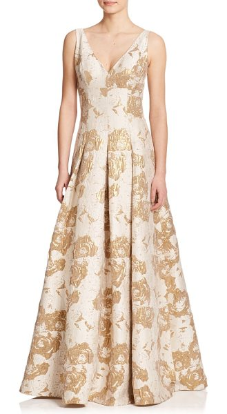 Aidan Mattox Metallic jacquard ball gown in ivory-gold - A gilded jacquard finish lends a rich touch to this...