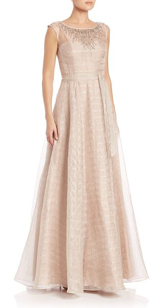 Aidan Mattox metallic organza a-line ballgown in champagne - Illusion yoke highlights this gorgeous ballgown....