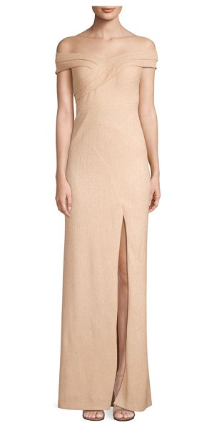 Aidan Mattox off-the-shoulder gown in champagne - Artful seaming and a thigh-high slit make this...