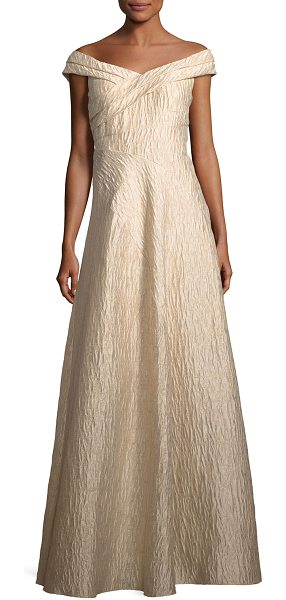"Aidan Mattox Off-the-Shoulder Jacquard A-Line Gown in light mink - Aidan Mattox jacquard evening gown. Approx. 52.5""L down..."