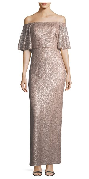 Aidan Mattox Off-the-Shoulder Short-Sleeve Metallic Evening Gown in mink - Aidan Mattox evening gown in pebbled metallic jacquard....