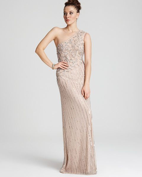 Aidan Mattox One-Shoulder Long Beaded Gown in blush - Aidan Mattox One-Shoulder Long Beaded...