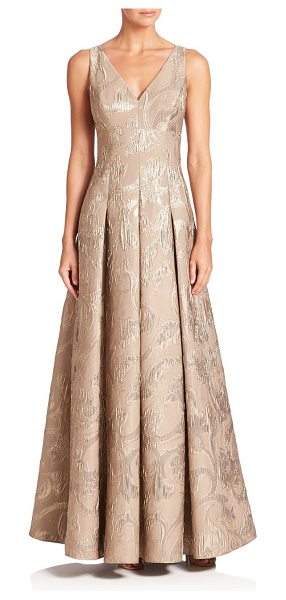 Aidan Mattox pleated floral gown in gold - Sparkling floral details accentuate this pleated gown....
