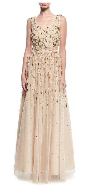Aidan Mattox Rosette Beaded Evening Gown in champagne