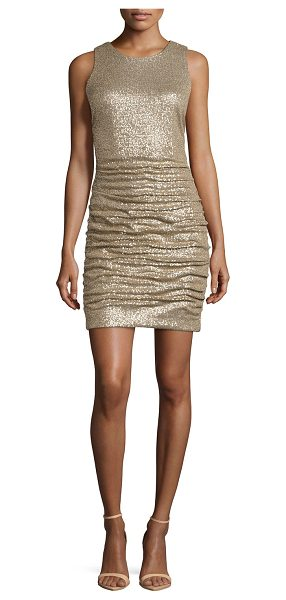 "Aidan Mattox Ruched sequin cocktail dress in gold - Aidan Mattox knit and sequin dress. Approx. length: 32""L..."