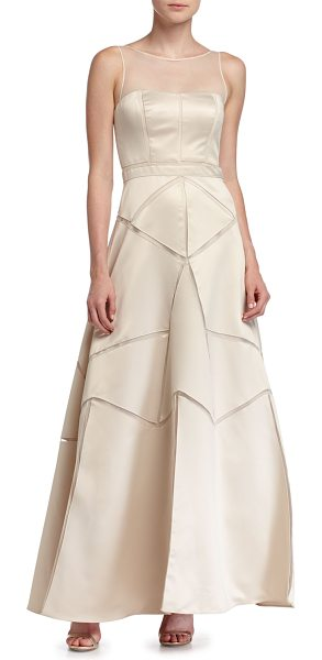 Aidan Mattox Satin Fit & Flare Illusion Gown in champagne - Aidan Mattox satin gown with mesh cutout insets. Jewel...