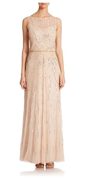 Aidan Mattox Sequin blouson bridesmaid gown in champagne - Crafted in airy mesh, an elegant blouson gown with...