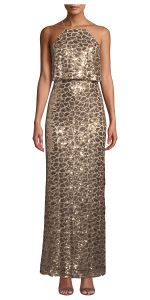 Aidan Mattox Sequin Blouson Halter Gown in gold