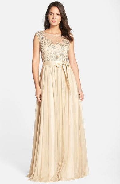 AIDAN MATTOX sequin bodice mesh gown in light gold - Sequined leaves sparkle on the delicate cap-sleeve...