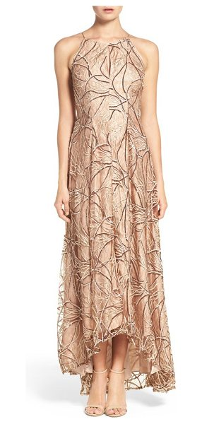 Aidan Mattox sequin embroidered lace & silk gown in brown multi - Embroidered lace echoed in sequins romances a silk-based...