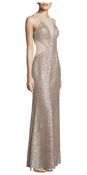 Aidan Mattox sequin illusion cutout gown in champagne silver