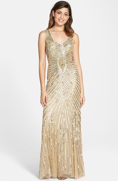 Aidan Mattox sequin mesh column gown in light gold - Glistening sequins carve radiating metallic lines across...