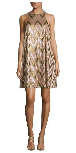 Aidan Mattox sequin swing cocktail dress in rose gold - Zigzag patterned sequin accents brighten this dress....