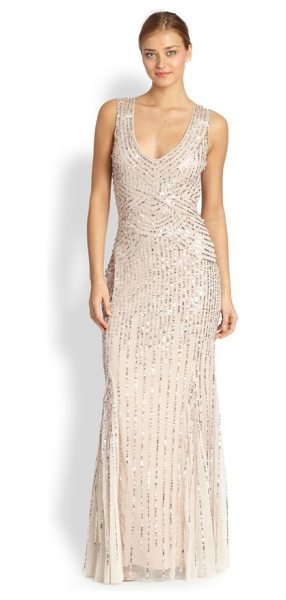 Aidan Mattox Sequin tulle sleeveless gown in blush - A pale, airy tulle gown is traced with strands of...