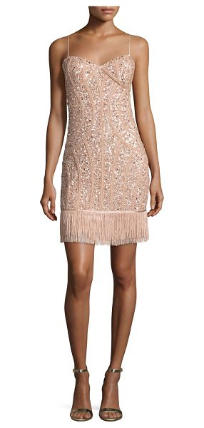 Aidan Mattox Sequined Fringe Cocktail Dress in blush - ONLYATNM Only Here. Only Ours. Exclusively for You....