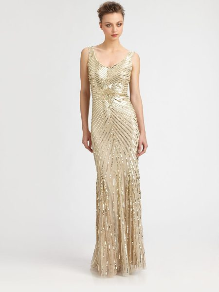 Aidan Mattox Sequined starburst gown in champagne - A dazzling sequined starburst pattern makes for a truly...
